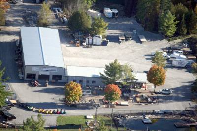 Houston Marine Systems / Sled Depot near Coboconk, Ontario. Arial photo  taken Fall 2012n by plane,