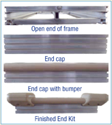 Four different options for end view of aluminum standing docks.1) standard open end, 2) with end cap, 3) with end cap and single bumper strip, 4) with end cap, single bumper strip and corner bumpers.