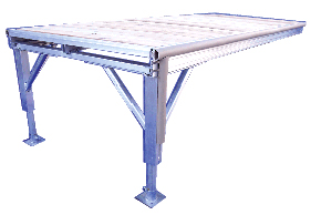 One section of aluminum standing dock, showing standad features including, legs, baseplates, bumper strips and leg bumpers.