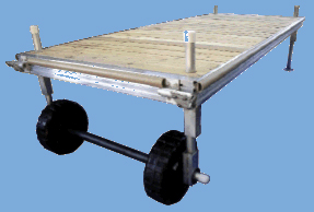 One standard section of aluminum wheel-in dock, including frame, decking, bumper strips and wheels